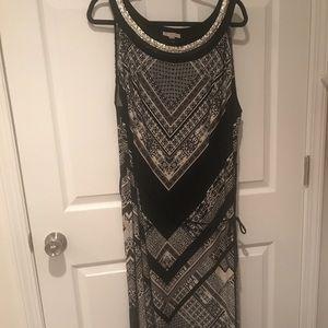 Belted maxi dress with embellished neckline